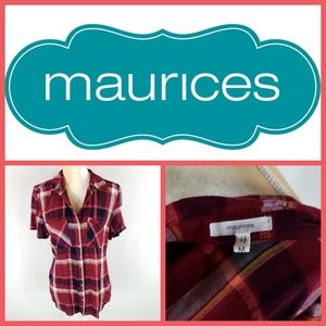 Maurices Plaid Button Down Rayon
